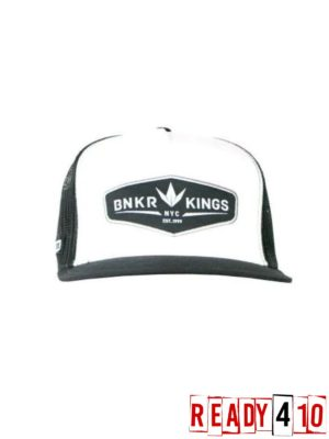 Bunkerkings Trucker Crown patch Cap Black/White - Front