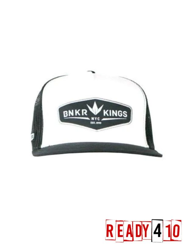 Bunkerkings Trucker Crown patch Cap Black/White - Front