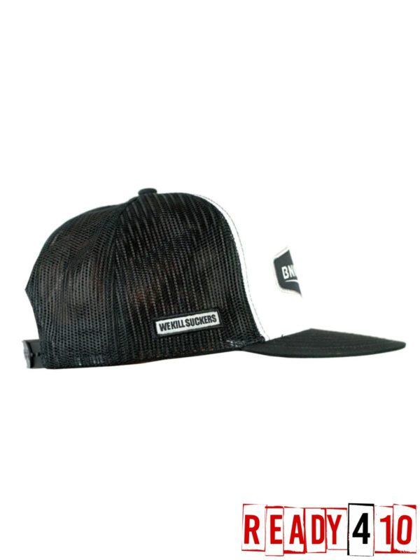Bunkerkings Trucker Crown patch Cap Black/White - Side